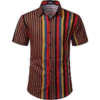JOGAL Men's Casual Stripe Button Down Short Sleeve Hawaiian Shirt