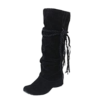 Xjp Women Faux Suede Wedge Heel Mid Calf Boots with Tassels 35 Black