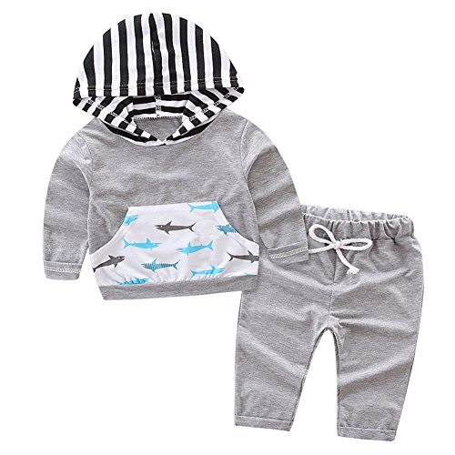 OUTGLE Newborn Baby Boy Kids Fish Pocket Long Sleeve Stripe Hoodie + Grey Long Pants Clothing Sets Outwear (0-9 Months, Long Sleeve)