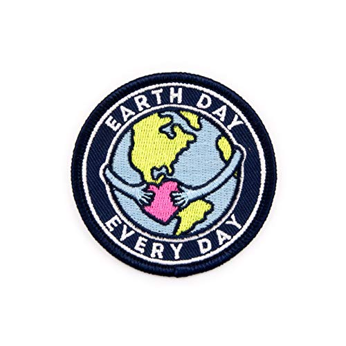 Winks For Days Earth Day Every Day Embroidered Iron-On Patch (Patches Earth Planet)