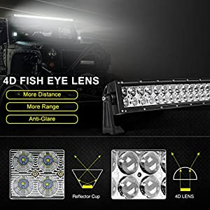 "50"" 4D LED Offroad Light Bar 400W Curved, AUTOSAVER88 Night Driving Lamp Lights 40000Lumens Automotive Spot & Flood Combo Beam Work Light, 3 Years Warranty"