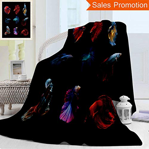 Unique Custom Warm 3D Print Flannel Blanket Betta Fish Siamese Fighting Fish Betta Splendens Aquarium Moment Of Siamese Fighting Fish Cozy Plush Supersoft Blankets for Couch Bed, Twin Size 60