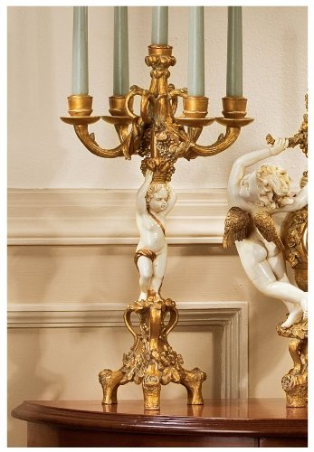 French Baroque Cherub Candelabra Pair
