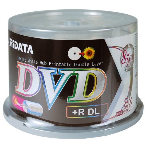 Ritek Ridata DRD+858-RDIWN-CB50 DVD+R Dual Layer (DL) 8X White Inkjet Hub Printable Double Layer Blank DVD Plus R Media Discs 50 Pack Cake Box (Printable Boxes)