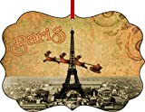 big eiffel tower - Vintage Santa and Sleigh Riding Over Big Eiffel Tower-Paris-Flat Benelux Aluminum Christmas Hanging Tree Ornament Made in the U.S.A.
