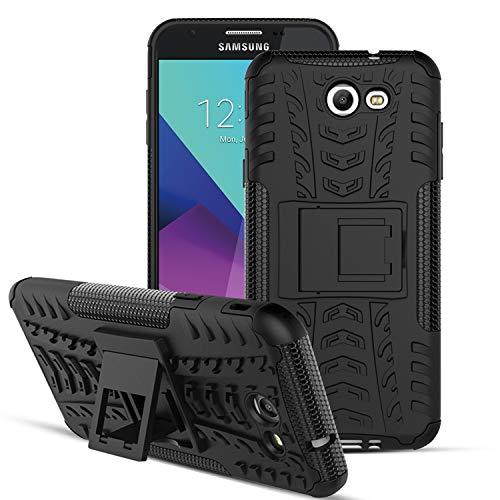 (OEAGO Samsung Galaxy J7 V J7V 1st Gen 2017 Case, Galaxy J7 Prime Case, Galaxy J7 Perx Case, Galaxy J7 2017 Case, Galaxy J7 Sky Pro Case, Halo Case, Tough Rugged Dual Layer Case Kickstand - Black)