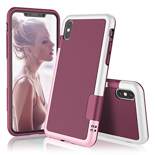 iPhone X Case, TILL(TM) Ultra Slim 3 Color Hybrid Impact Anti-slip Shockproof Soft TPU Hard PC Bumper Extra Front Raised Lip Case Cover For Apple iPhone X (5.8 Inch) 2017 All Carriers [Wine]