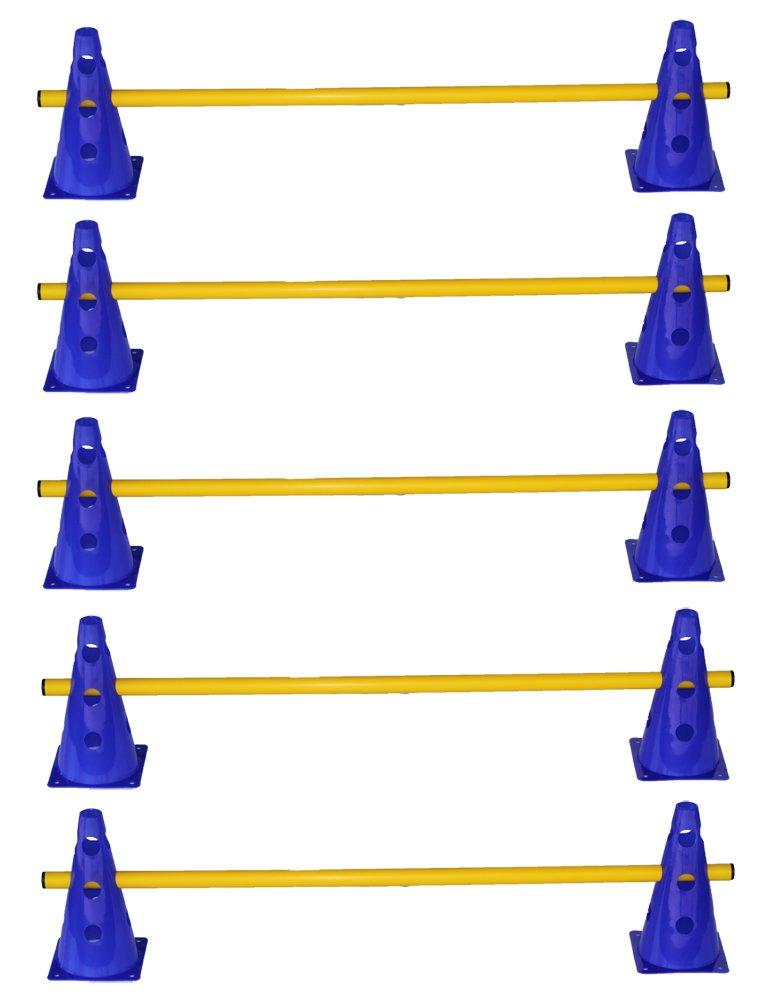 Agility Dog Sport - Set di 5 ostacoli - 10x coni multiuso 23 cm, blu / 5x aste: 100 cm, giallo