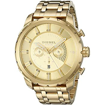 Diesel Mens DZ4376 Stronghold Analog Display Quartz Gold Watch