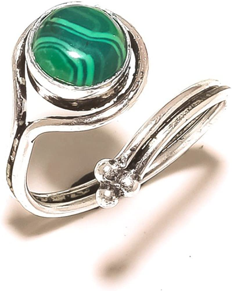 Ancient Green Malachite Sterling Silver Overlay 8 Grams Ring Size 8 US Sizable Handmade Jewelry