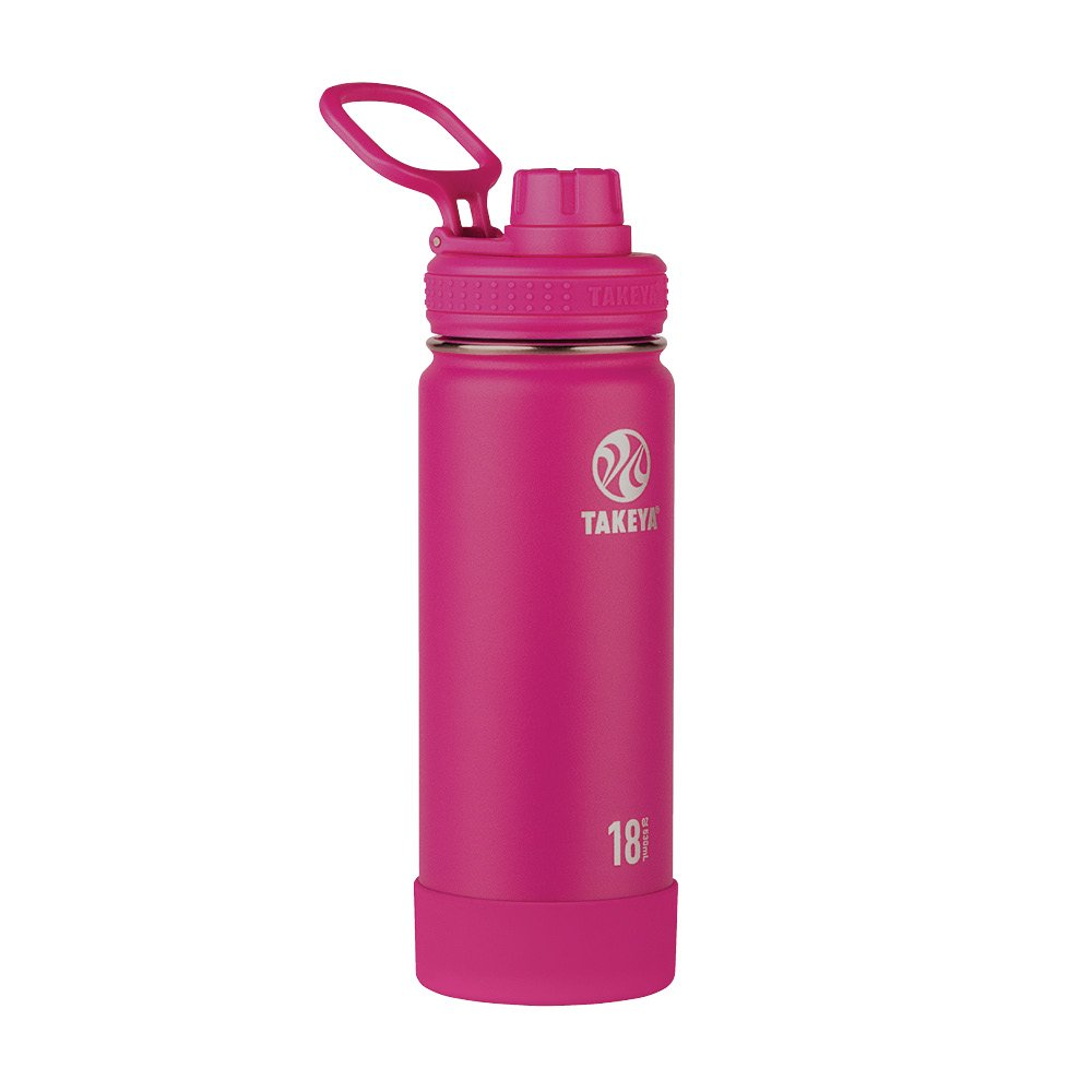 Takeya Actives Insulated Stainless Water Bottle with Insulated Spout Lid, 18oz, Fuchsia