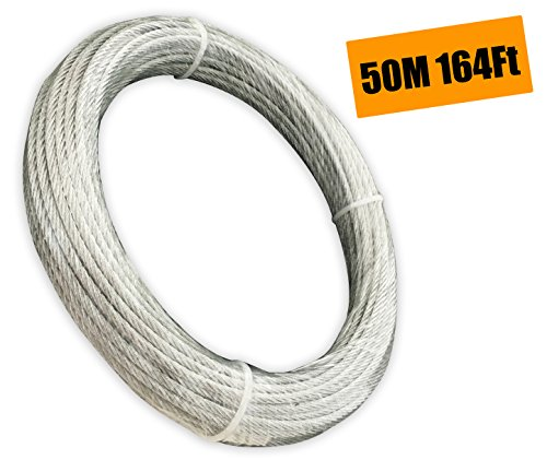 Muzata Galvanized Wire Rope Aircraft Cable For Railing ,Decking, DIY Balustrade, 1/8Inch,7x7,164Feet