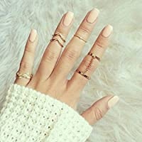 BABEYOND 6pcs Stack Rings Leaf V Rhinestone Joint Rings Knuckle Nail Ring Set
