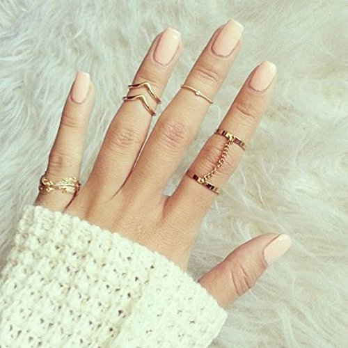 BABEYOND 6pcs Stack Rings Leaf V Rhinestone Joint Rings Knuckle Nail Ring Set (Gold)