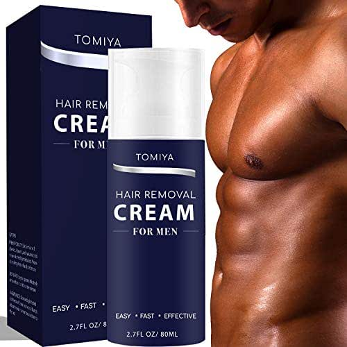 Hair Removal - Tomiya Premium Men's Hair Removal Cream - Skin friendly Fast & Effective Painless formula with Aloe Vera & Vitamin E - Depilatory Cream Special Designed for Men