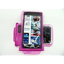 DiCAPac WP-C2 Universal Waterproof Case for ZTE Grand Memo / S II / S3 / X2 In in Pink (Double Locking System; IPX8 Certified Underwater Protection; Super Clear Photo Lens)