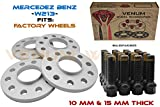 4 Pc Mercedes Benz Staggered 10 mm & 15 mm Thick Hub Centric Wheel Spacers + 20 14x1.5 Black Ball Seat Lug Bolts For Factory Wheels Fits W213 2017+ E200 E250 E300 E350e E400 4Matic E43 AMG E63 AMG +