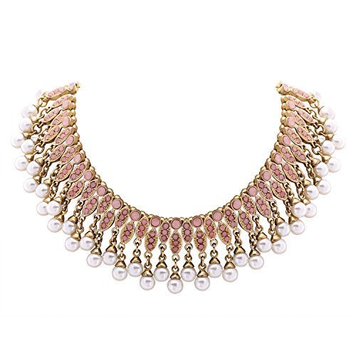 Jane Stone Fashion Simulated Pearl Choker Collar Necklace Gold Beaded Statement Jewelry for Women(Fn2251-Pink)