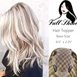 Full Shine Women Toupee With Clips Hair Toppers Crown Human Hair Highlighted Color #18 Ash Blonde With Color #613 Blonde Base Size 6.5x2.25'' Straight Hair For Women Hair Pieces