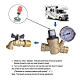 Hydro Master 0571310 Water Pressure Regulator, Lead Free Brass Valve with Gauge for RV Camper, Pressure Range 0-160PSI / 0-11Bar