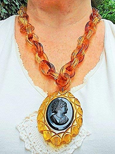 Antique Large Mourning Black Celluloid Cameo Apple Juice Bakelite Scalloped Deeply Carved by Atist in 1930's Frame,Thick Apple Juice Celluloid Link Chain.