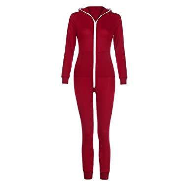 3074716728b Anglewolf Womens Solid Casual Regular Fit Sport Suit Ladies Fashion Sexy  Zipper Bodysuit Long Sleeve Long Sleeve Hooded Pockets Zip Up Jumpsuits  Playsuit  ...