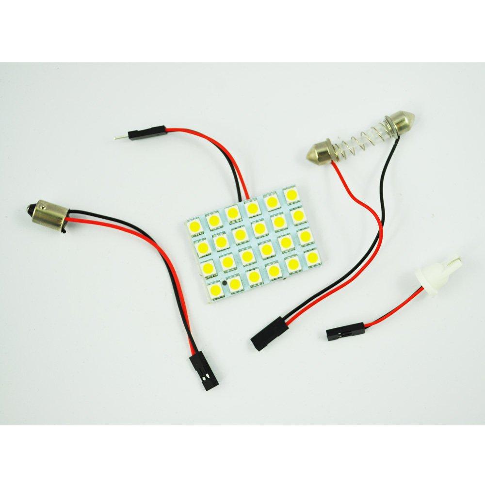 SODIAL(R) Luz de Techo para Coche Blanco 24 LED Panel 5050 SMD + Adaptador Feston T10 BA9S 005898