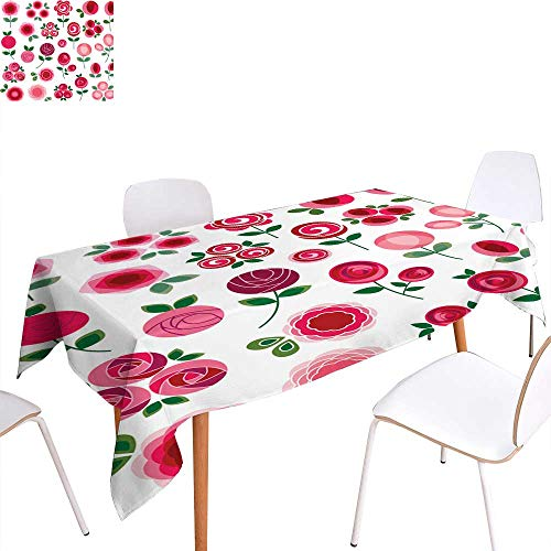 longbuyer Jacquard Tablecloth mod Rose Clipart Rectangle/Oblong W 60