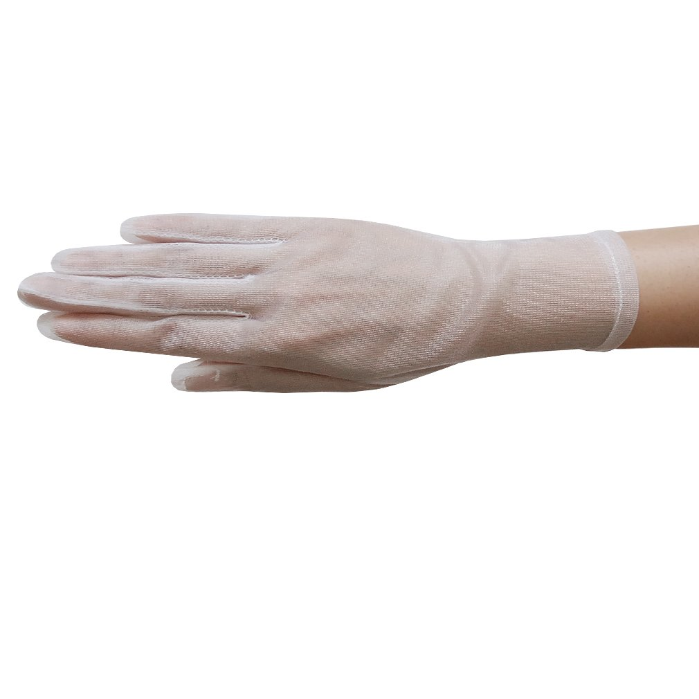ZaZa Bridal Gorgeous Sheer Gloves Tricot Slip-on Wrist Length 2BL-White
