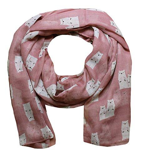 Women Scarf Polar Bear Print Design Lightweight Scarves for Lady (Rose)