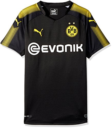 PUMA Men's BVB Away Replica Shirt with Sponsor Logo, Black/Cyber Yellow, X-Large - Borussia Shirt Dortmund