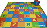 "We Sell Mats Uppercase 84 Sq. Ft Alphabet and Number Floor Puzzle-Each Tile 12""x12""x3/8"" Thick with Borders plus 48 plain tiles."