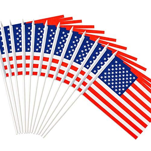 oineke USA Stick Flag, American US 5x8 inch Handheld Mini Flag with 12