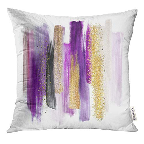 VANMI Throw Pillow Cover Pink Abstract Watercolor Brush Strokes White Paint Smears Purple Gold Palette Swatches Modern Wall Yellow Decorative Pillow Case Home Decor Square 16x16 Inches Pillowcase (Gold And Purple Throw Pillows)