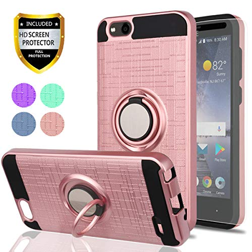 ZTE Blade Vantage Case,ZTE Tempo X,ZTE Avid 4 Phone Cases with HD Phone Screen Protector,YmhxcY 360 Degree Rotating Ring & Bracket Dual Layer Resistant Back Cover for ZTE Tempo X N9137-ZH Rose Gold