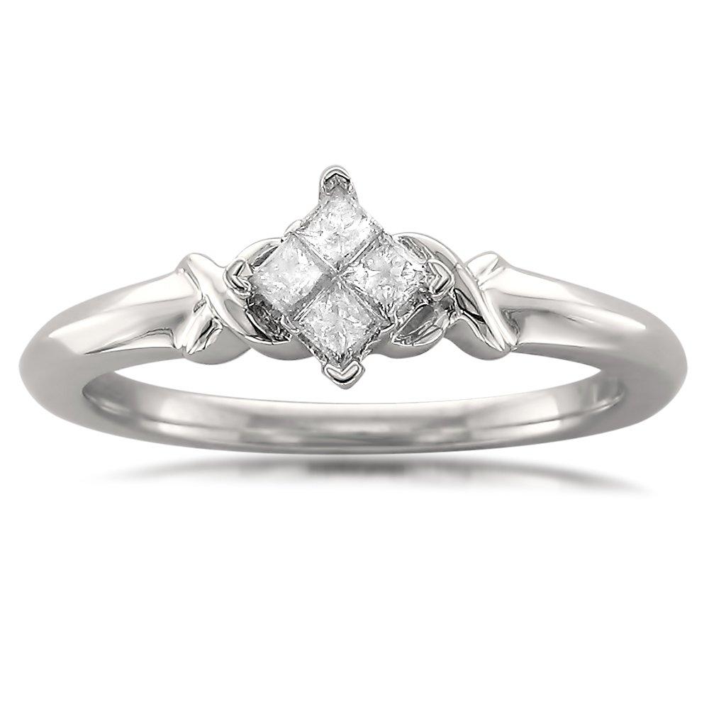 10k White Gold Princess-cut Diamond Promise Ring (1/5 cttw, I-J, I2-I3), Size 4.5