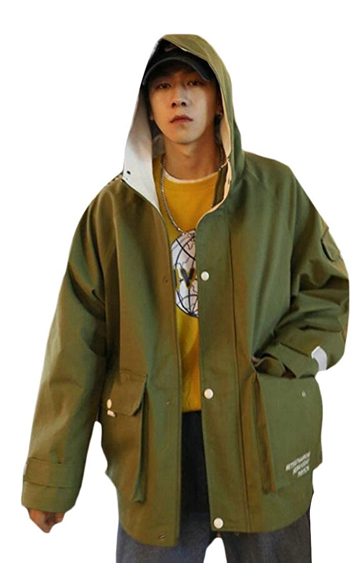 Army Green maweisong Men Lightweight Casual Zip-up Coats Windbreaker Hooded Jacket