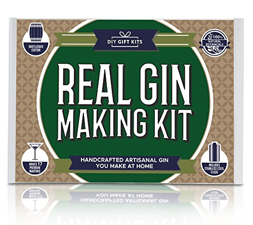 Real Homemade Gin Kit & Stainless Steel Personalized Flask, For Making Delicious Martinis, Gin and Tonics, Spirits & Cocktails At Home | Botanicals, Recipe Guides, Bottles & Labels & - Diy Flask