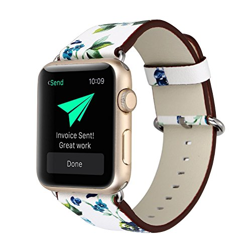 KOBWA Apple Watch Band 42mm, Premium Leather Strap Wrist Band Replacement with Stainless Metal Clasp for Apple Watch Series 1 Series 2 42mm All Models White And Blue Flowers