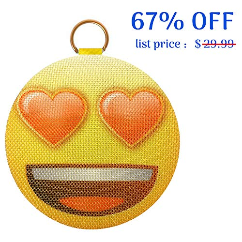 AOMAIS Emoji Bluetooth Speaker, Wireless Portable Speaker with Loud Sound, IPX4 Water-Resistant, Built-in Mic, Stereo Pairing, Perfect for Home Party, Backyard, Outdoors, Pool(Heart) ()