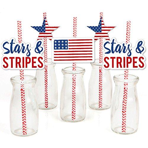 (Stars and Stripes - Paper Straw Decor - Labor Day USA Patriotic Party Striped Decorative Straws - Set of)