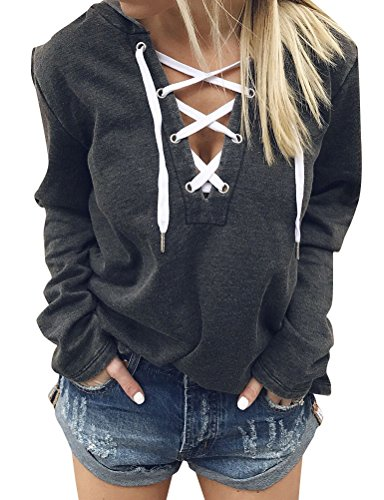 Ezcosplay Women Lace Up Long Sleeve Deep V Neck Casual Shirt Hoodie Tops Blouse