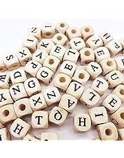 Sprießen 200 stuks natuurlijk houten alfabet kralen, ABC puzzel alfabet houten kralen om de creativiteit en spelling van kinderen te bevorderen/DIY sieradenarmbanden/halskettingen/sleutelhangers
