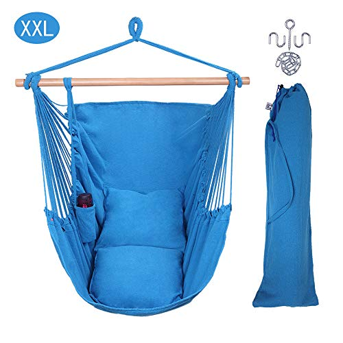 OnCloud XXL Large Hanging Rope Hammock Chair Porch Swing with 2 Pillows, Hanging Hardware and Drink Holder, Perfect for Indoor/Outdoor Home Bedroom Patio Deck Yard Garden, (Blue)