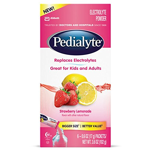 Pedialyte Electrolyte Powder, Strawberry Lemonade, Electrolyte Hydration Drink, 0.6 oz Powder Packs, 6 Count