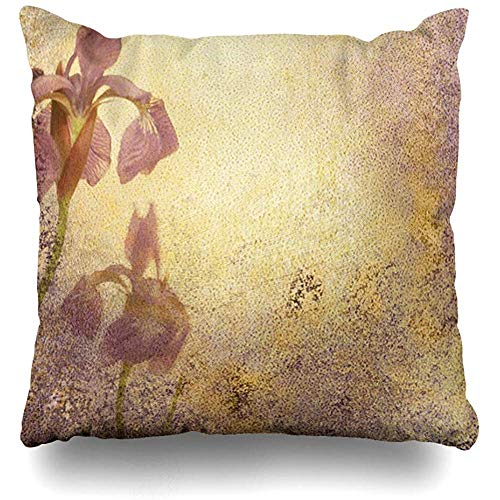 (Throw Pillow Cover Square 18x18 Inch Messy Purple Royal Iris Abstract Stationary Grungy Watercolor Aged Announcement Antique Bloom Blotchy Ivory Cushion Home Decor Cases)