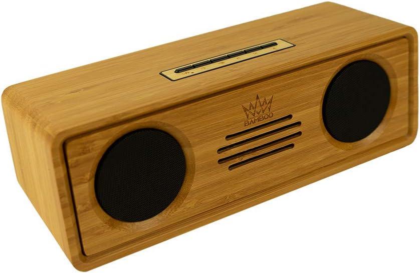 Bamboo King Mulitmedia - Altavoz Bluetooth con Cuerpo de bambú
