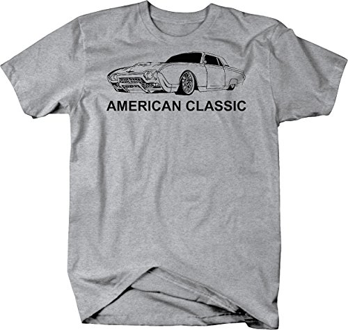 - American Classic Ford Thunderbird T-Bird Vintage Car Tshirt - Medium Heather Grey