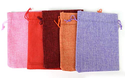 Drawstring Burlap Bags 5x3.5 in. Packing Pouches 9 Colors Wedding Bracelet Pouch
