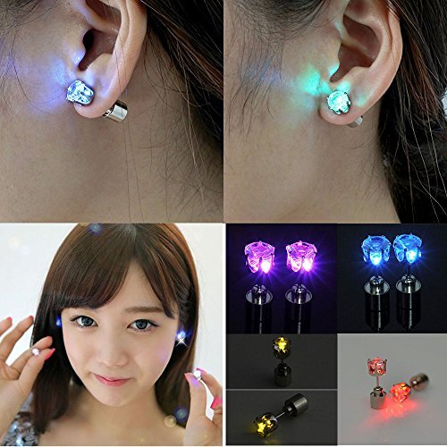 [LED Earrings 4 Pair Glowing Light Up Multicolor Bright Fashion Ear Studs Party Crown Shape (4] (Led Light Dance Costumes)